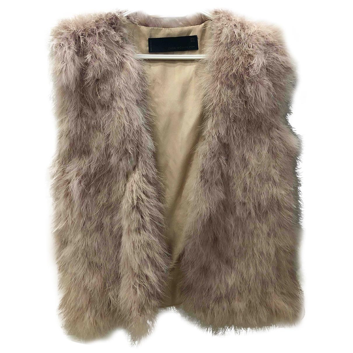 Zara - Veste   pour femme en fourrure - rose