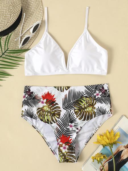 Yoins White Random Tropical Print Basic Bikini Set