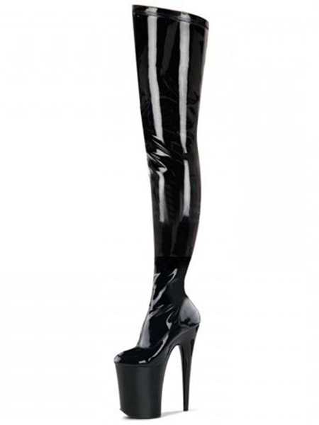 Milanoo Over The Knee Boots Sexy Black Platform High Heel Round Toe Thigh High Boots For Women