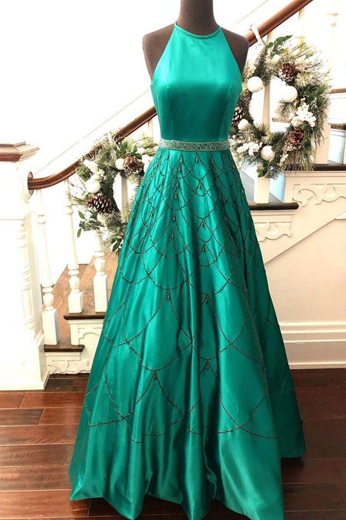 A-Line Sleeveless Jewel Floor-Length Prom Dress