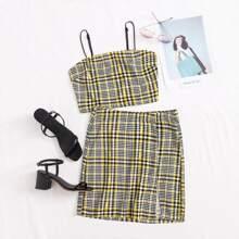 Tartan Cami Top & Split Hem Skirt Set