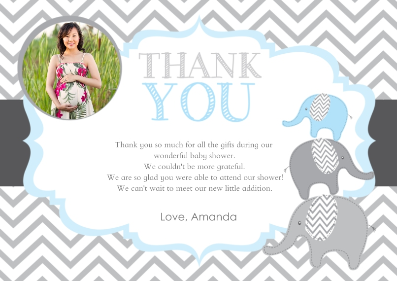 Thank You Cards 5x7 Cards, Premium Cardstock 120lb with Rounded Corners, Card & Stationery -Chevron Elephant Thank You