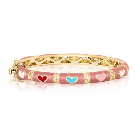 10K Gold Over Brass Bangle Bracelet, One Size , No Color Family