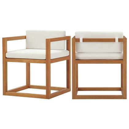 Newbury Collection EEI-4029-NAT-WHI Outdoor Patio Premium Grade A Teak Wood Accent Armchair Set of 2 with Premium Grade A Teak Wood  Water and UV