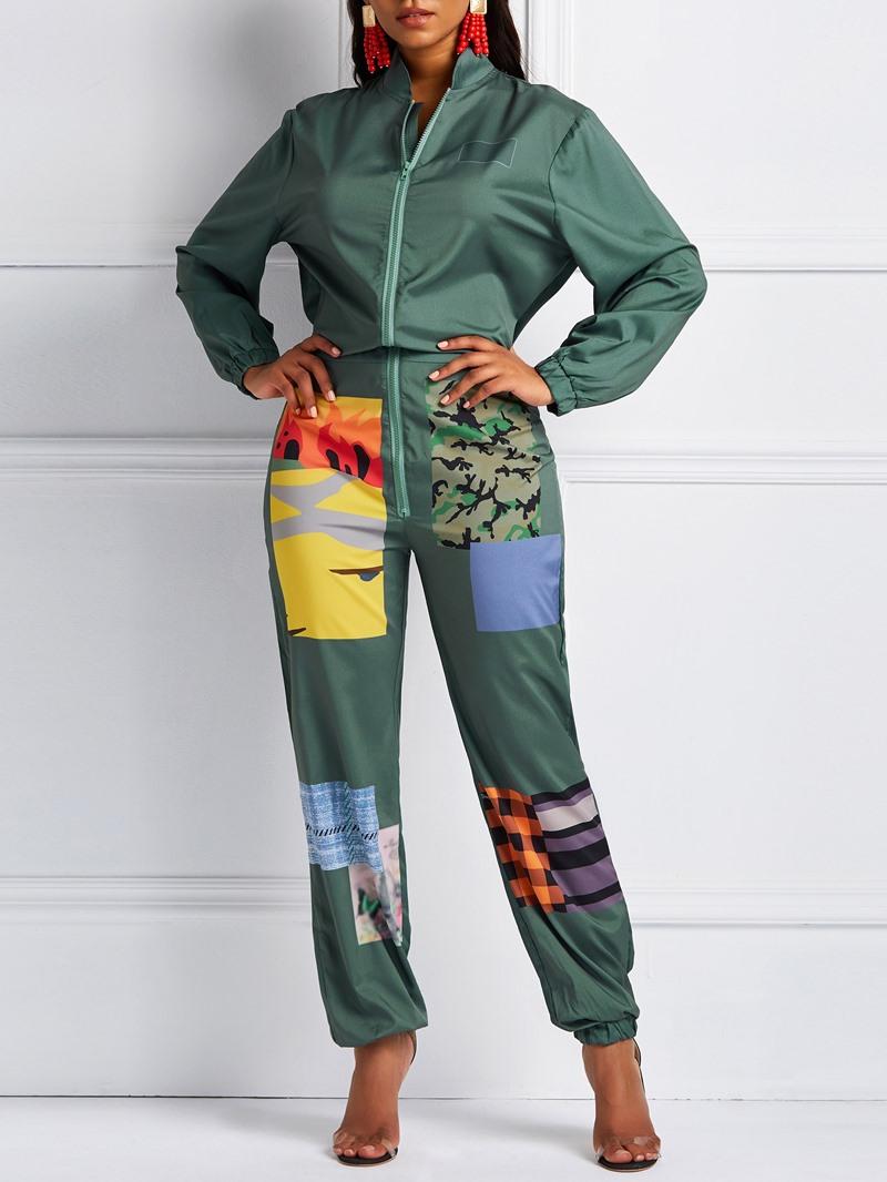 Ericdress Color Block Print Loose Mid-Waist Jumpsuits