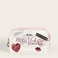 Letter Pattern Transparent Makeup Bag