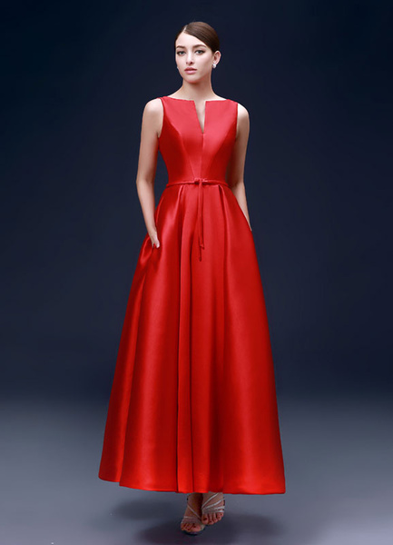 Milanoo Red Evening Dresses Satin A Line Party Dresses Ankle Length Backless Notched Neckline Prom Dresses