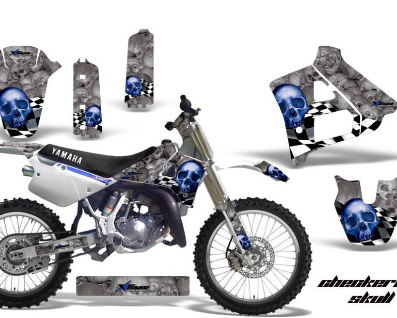 AMR Racing Dirt Bike Graphics Kit Decal Sticker Wrap For Yamaha YZ125 YZ250 1991-1992áCHECKERED SILVER BLUE