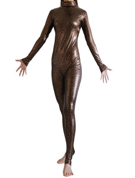 Milanoo Dark Brown Leopard Print Bodysuit Shiny Metallic Catsuit for Women