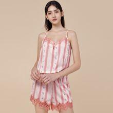 PJM conjunto de pijama top de tirantes de lunares floral ribete con encaje con shorts