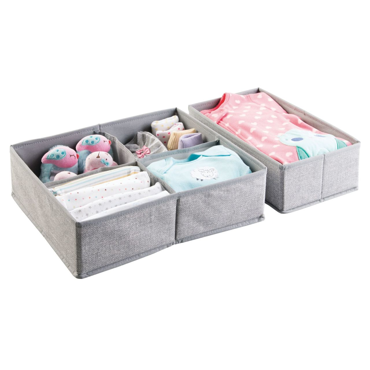 Kids Fabric Closet Dresser Drawer Storage Organizer in Natural/Cobalt Blue, by mDesign