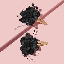 1 Paar Kleinkind Maedchen Haarklemme mit Blumen Dekor