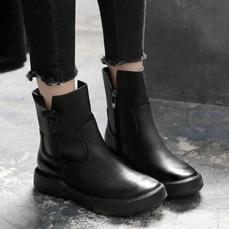 Ericdress Plain Side Zipper Round Toe England Boots