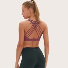 Strappy Back Solid Sports Bra