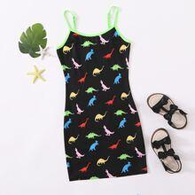 Kleid mit Dinosaurier Muster und Kontrast Neon Bindung