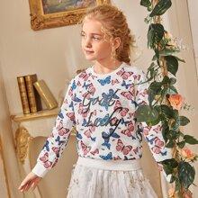 Girls Letter & Butterfly Print Pullover