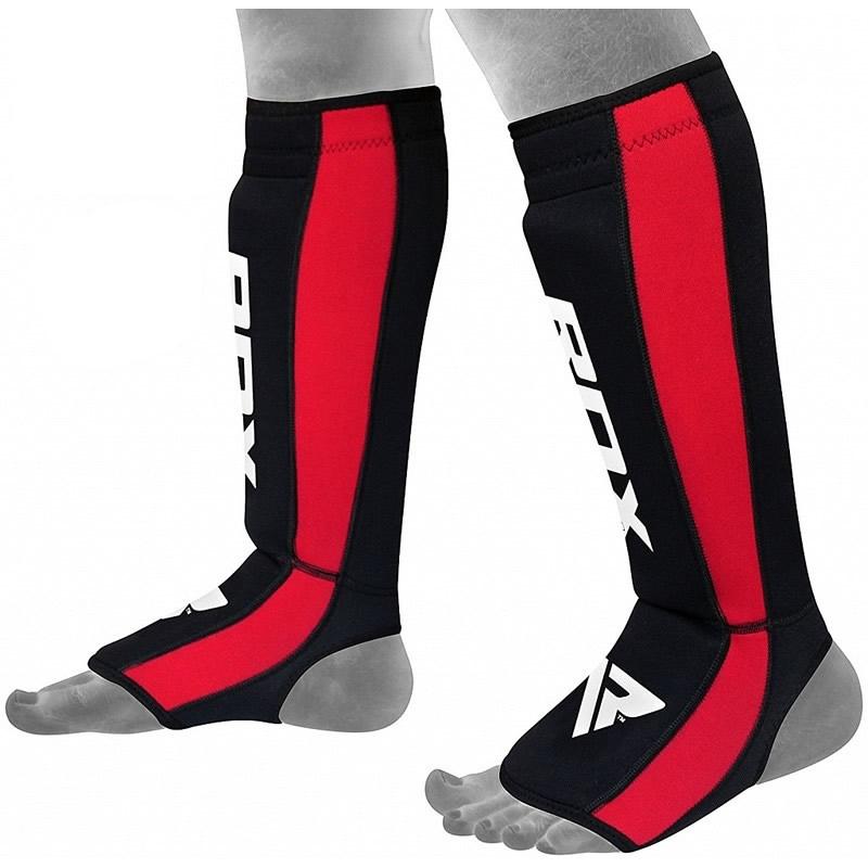 RDX T2 MMA Protege Tibias Petite/Moyenne  Rouge Cuir PU