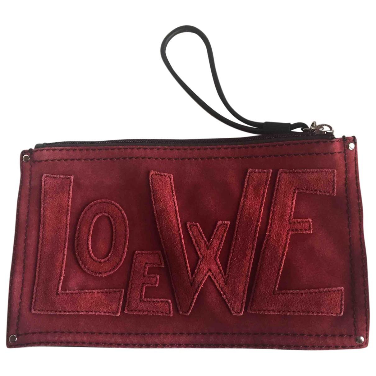 Loewe \N Clutch in  Bordeauxrot Leder