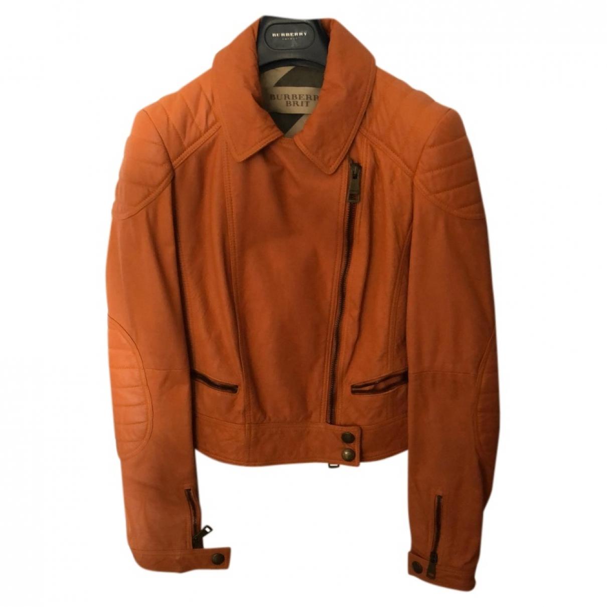 Burberry - Veste   pour femme en cuir - orange