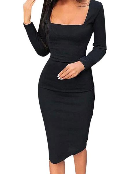 Milanoo Vestidos ajustados de manga larga Cuello cuadrado negro Vestido de lapiz de manga larga sexy