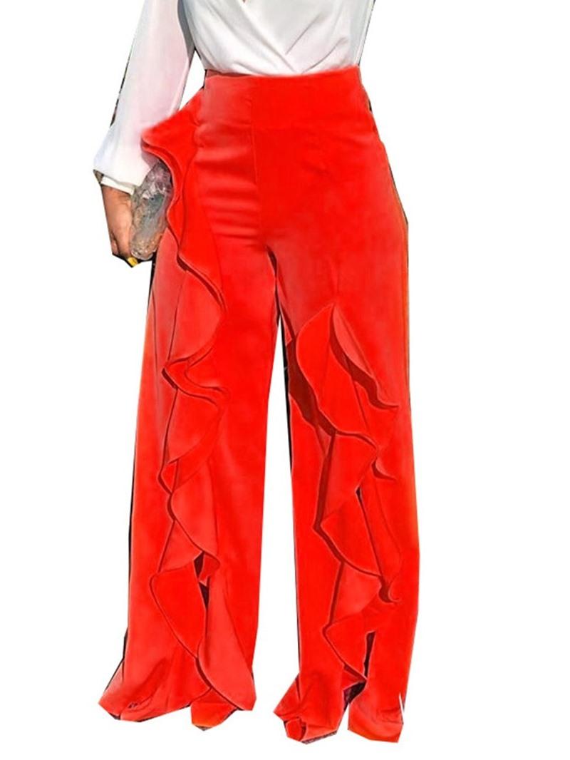 Ericdress Plain Falbala Loose Full Length Wide Legs Casual Pants