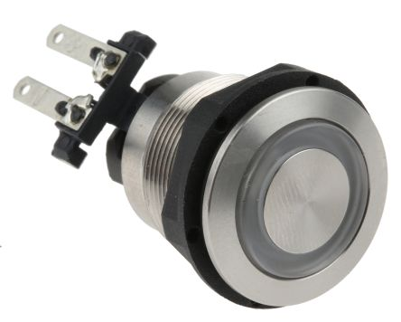Schurter Double Pole Double Throw (DPDT) Latching Green LED Push Button Switch, IP64 (Front); IP00 (Rear), 19 (Dia.)mm,