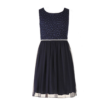 Speechless Little & Big Girls Embellished Sleeveless A-Line Dress, 7 , Blue