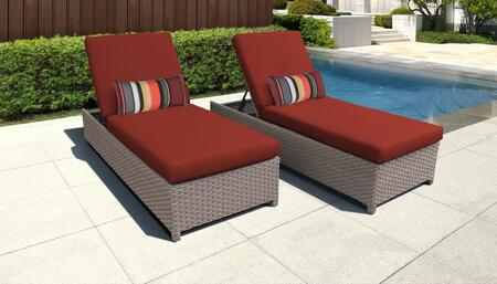 Florence Collection FLORENCE-W-2x-TERRACOTTA Set of 2 Chaises - Grey and Terracotta