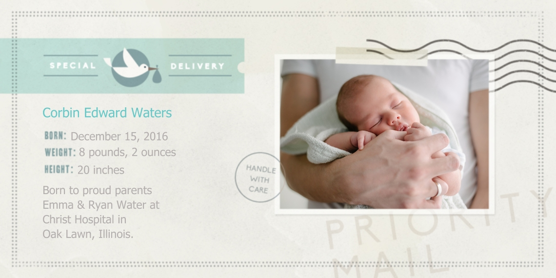 Newborn Flat Matte Photo Paper Cards with Envelopes, 4x8, Card & Stationery -Special Announcment