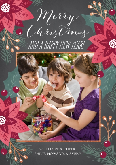 Holiday Photo Cards 5x7 Cards, Standard Cardstock 85lb, Card & Stationery -Royal Poinsettia
