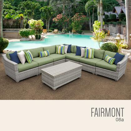 FAIRMONT-08a-CILANTRO Fairmont 8 Piece Outdoor Wicker Patio Furniture Set 08a with 2 Covers: Beige and