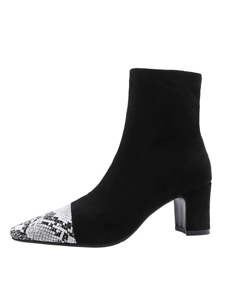 Milanoo Womens Ankle Boots Chunky Heel Pointed Toe Snake Print 2.4 Booties