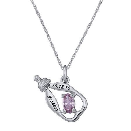 Personalized Girls Birthstone Bottle Pendant Necklace, One Size , White