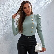 Gold Button Front Gigot Sleeve Top
