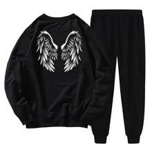 Sudadera con estampado de ala con pantalones