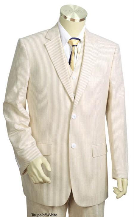 Mens 3pc 100% Cotton Seersucker Suits Taupe