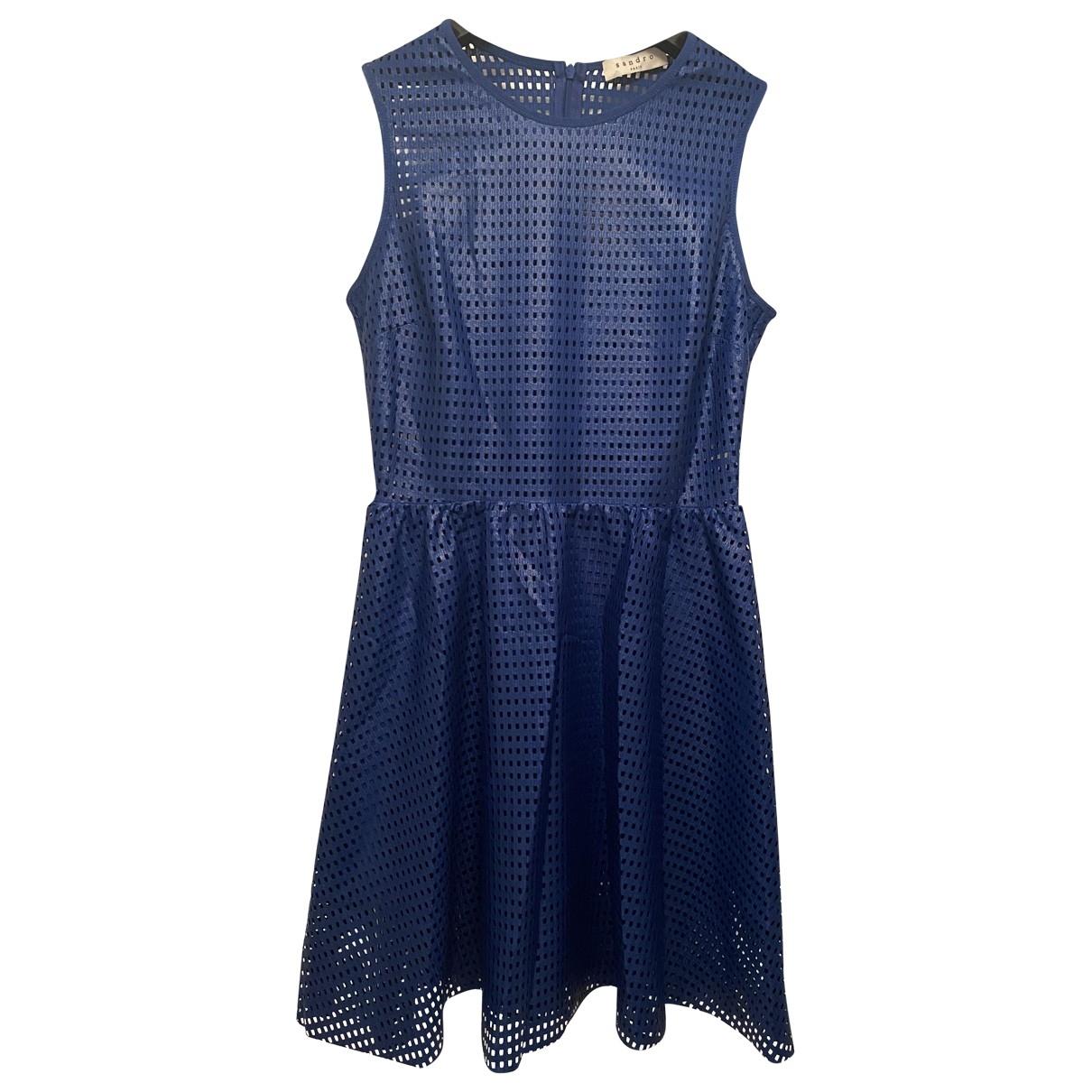 Sandro \N Kleid in  Blau Leder
