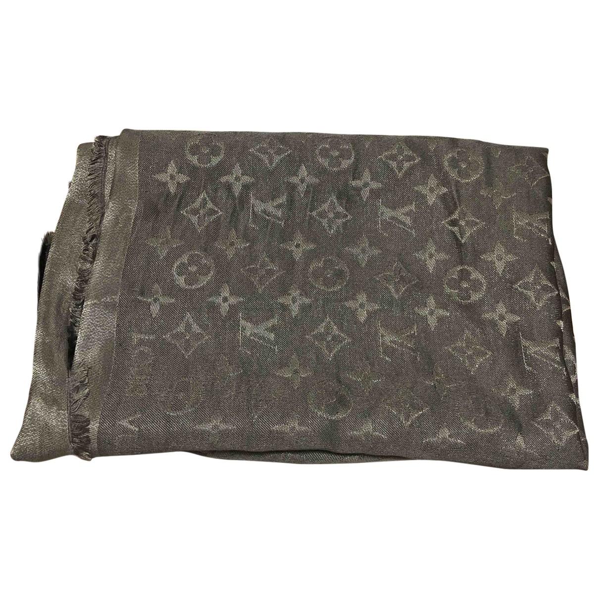 Louis Vuitton Chale Monogram shine Schal in  Grau Seide
