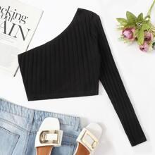 One Shoulder Rib-knit Crop Top