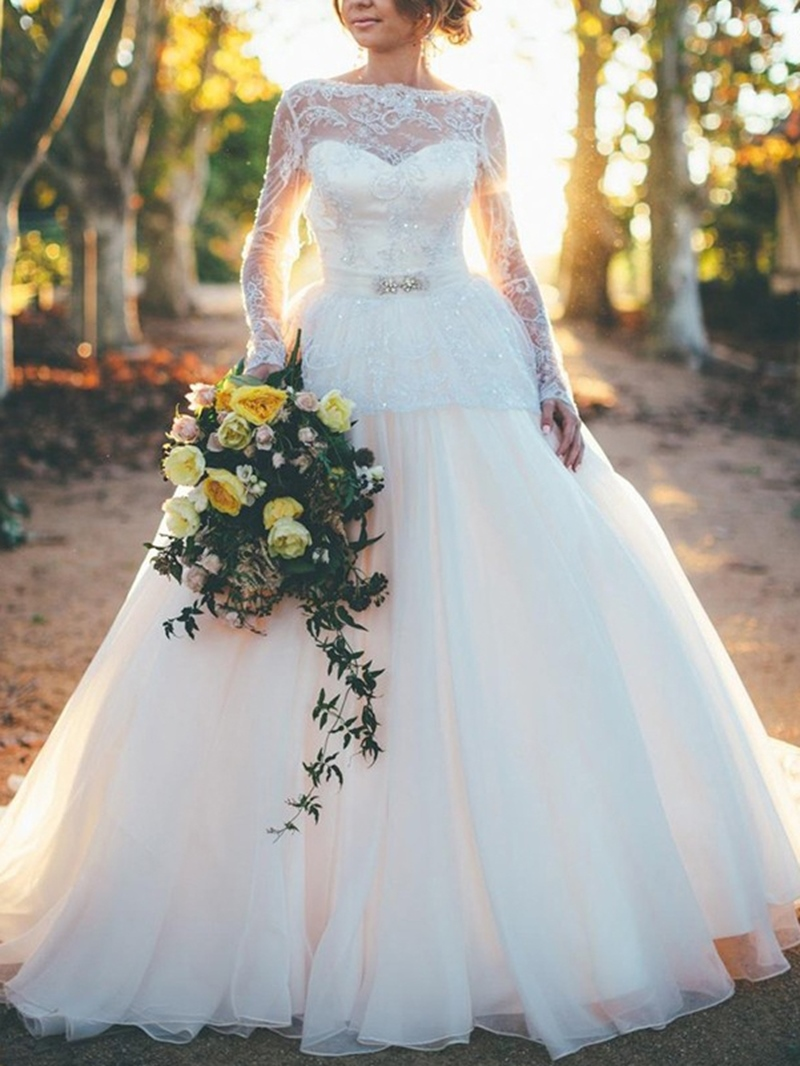 Ericdress Lace Long Sleeves Backless Wedding Dress