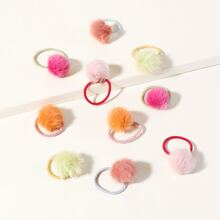 10pcs Pom Pom Decor Hair Tie