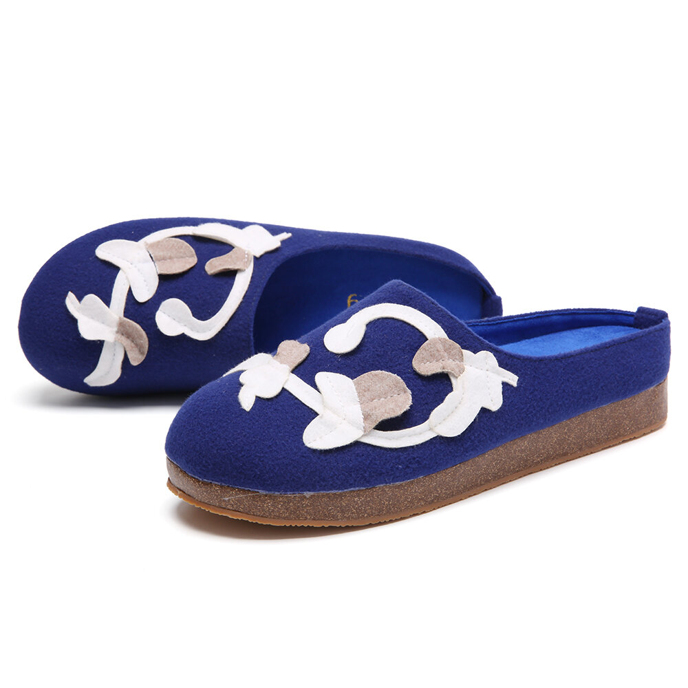 SOCOFY Vine Decor Solid Color Comfy Household Cloth Slip On Indoor Flat Home Shoes Slippers