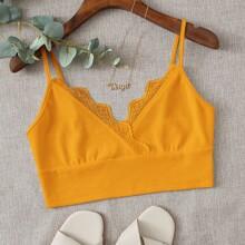 Lace Trim Rib-knit Crop Cami Top