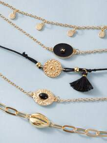 5pcs Shell & Tassel Decor Bracelet