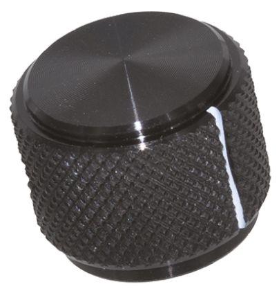 TE Connectivity Potentiometer Knob, Grub Screw Type, 19mm Knob Diameter, Black, 6.35mm Shaft