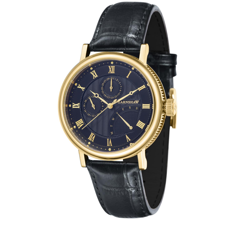 Thomas Earnshaw Mens Beaufort Multi-Function Retrograde ES-8101-04 Black Leather Japanese Quartz Fashion Watch