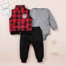 Baby Boy 3pack Solid Bodysuit & Sweatpants & Gingham Jacket