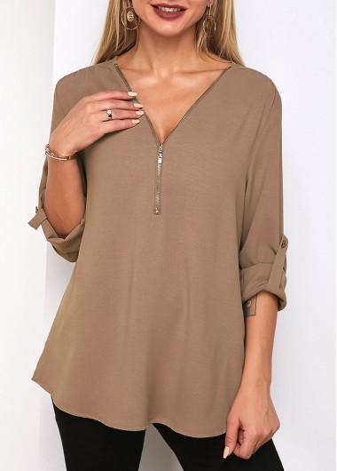 Quarter Zip Roll Tab Sleeve V Neck T Shirt - XL