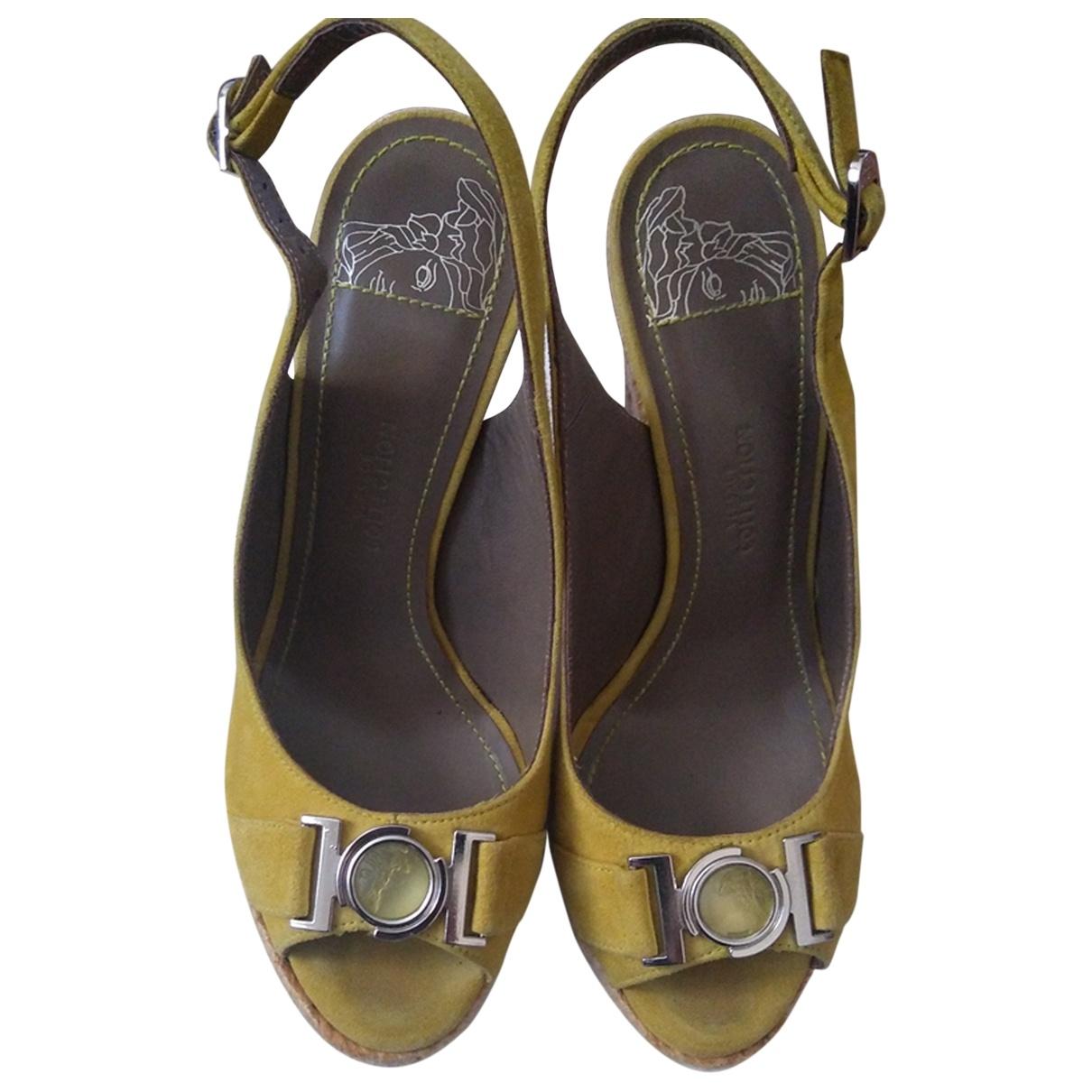 Versace - Espadrilles   pour femme en suede - jaune