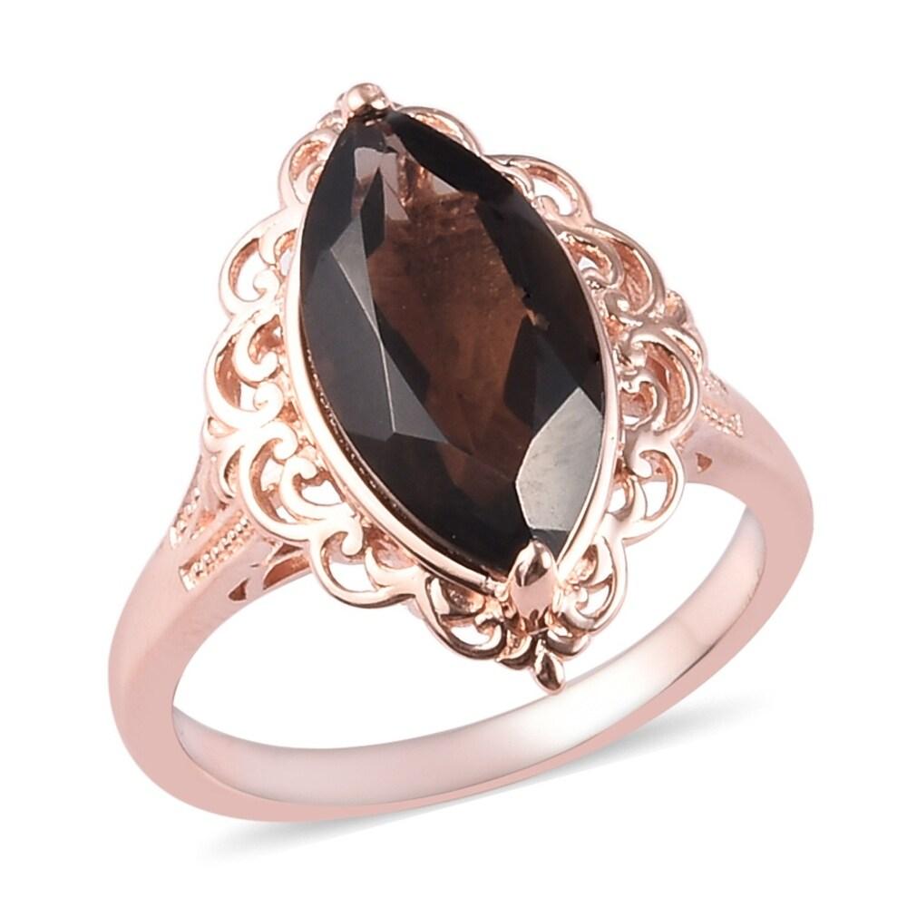 Copper Rose Gold Smoky Quartz Statement Ring Size 9 Ct 5.3 - Ring 9 (Quartz - Brown - Brown - Ring 9)